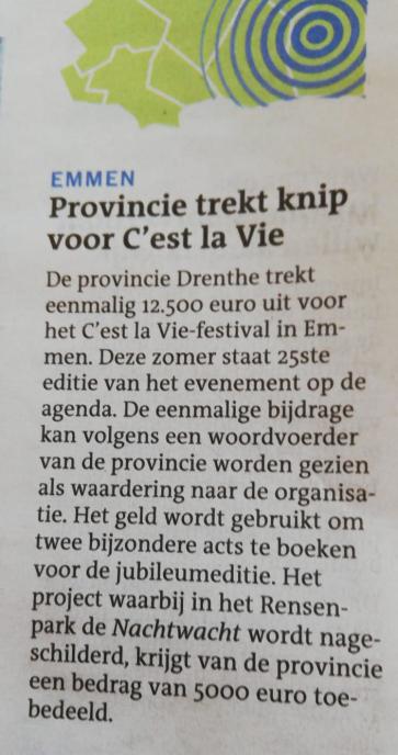 20190411 krantenbericht subsidie van de Provincie